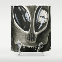 kafka Shower Curtains featuring I'm Late by Kyle McDonald