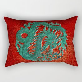 Wooden Jade Dragon Carving on Red Background Rectangular Pillow