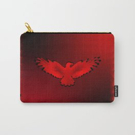 The emblem of an eagle with wings of bird in the frame. Medal with the image of an eagle on a red ba Carry-All Pouch