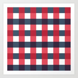 Red White and Blue Gingham Check Pattern Art Print