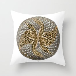 Raven Mandala Yin Yang  Throw Pillow