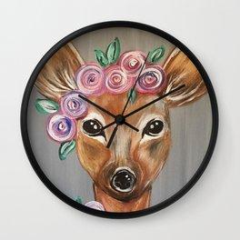 Oh Deer!  Fawn Painting Deer Print Wall Clock