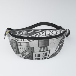Black and White, Williamsburg Brooklyn Wall Art Fanny Pack