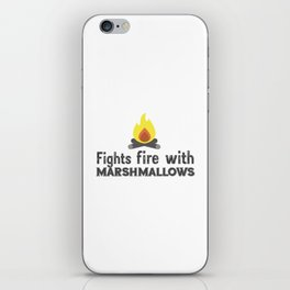 Fights fire with marshmallows iPhone Skin