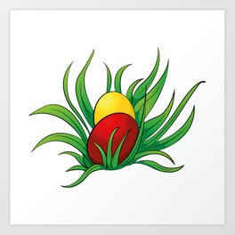 eggs in the grass Art Print