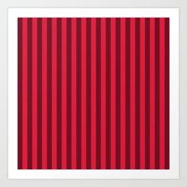 Crimson Red Stripes Pattern Art Print
