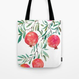 red pomegranate watercolor Tote Bag