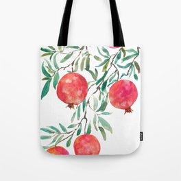 red pomegranate watercolor Tote Bag