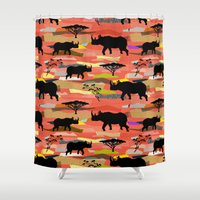 rhino Shower Curtains featuring Rhino by misslin
