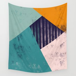 Abstract Geo 2 Teal Blue Blush Orange Wall Tapestry