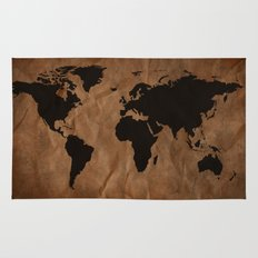 Old Wrinkled World Map Rug