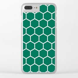 Teal green and white honeycomb pattern Clear iPhone Case