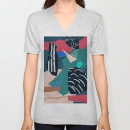 paper collage with embroidery Unisex V-Neck