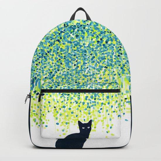 Cat in the garden under willow tree Backpack