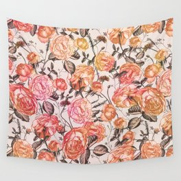 Vintage Floral Watercolor Pattern Wall Tapestry