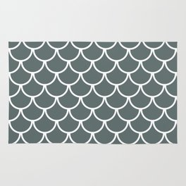 Steel Grey Fish Scales Pattern Rug
