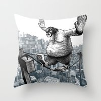 furry Throw Pillows featuring Furry Fingers by Jason Tirendi