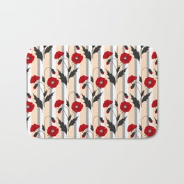 Retro. Red poppies on gray beige striped background. Bath Mat