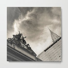 Slice of New York - Grand Central Station, Skyscraper and Office Building in Cream Tones Metal Print
