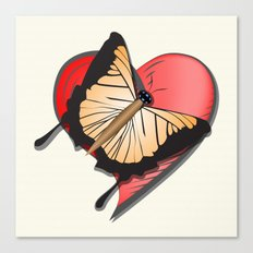Butterfly over a heart, a symbol of romance. Canvas Print
