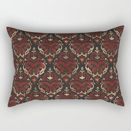 Persian Oriental Pattern - Black and Red Leather Rectangular Pillow