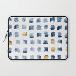 Watercolor Indigo Gold Geometrical Squares Pattern Laptop Sleeve
