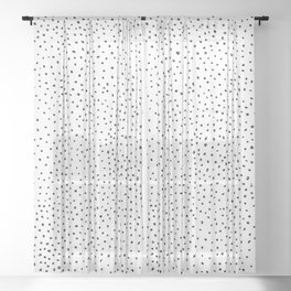 Dotted White & Black Sheer Curtain