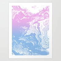 Suminagashi marble pastel pink and blue minimal watercolor spilled ink swirl Art Print