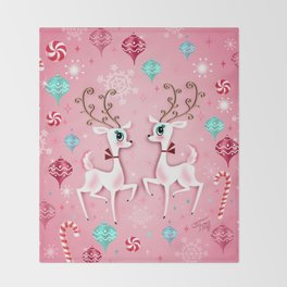Cute Christmas Reindeer Throw Blanket