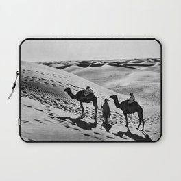 Bedouins with two camels, Arabian Desert black and white photography - black and white photographs Laptop Sleeve