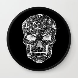 Human skull with hand- drawn flowers, butterflies, floral and geometrical patterns Wall Clock