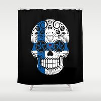 finland Shower Curtains featuring Sugar Skull with Roses and Flag of Finland by Jeff Bartels
