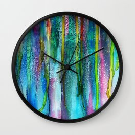Rainbow Rain - Alcohol Ink Painting Wall Clock
