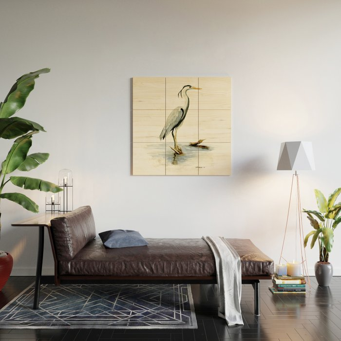 Blue Heron Watercolor Bird Home Decor Nursery Wall Art Wood Wall Art By Drawinginspiration