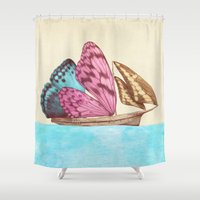 voyage Shower Curtains featuring The Voyage (option) by Eric Fan