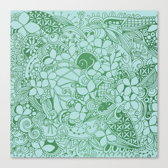 Blue square, green floral doodle, zentangle inspired art pattern Canvas Print