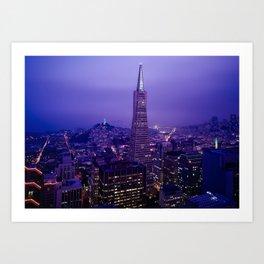 San Francisco Skyline at Night (Transamerica Pyramid) Art Print