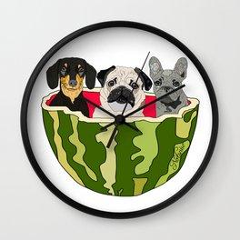 Watermelon Dogs Wall Clock