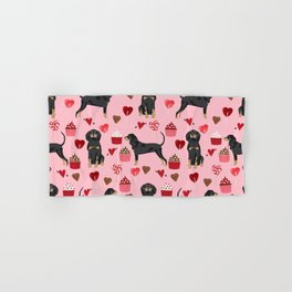 Coonhound love cupcakes hearts valentines day cute dog breed gifts for coonhounds Hand & Bath Towel