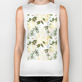 Modern yellow ivory green hand painted roses floral Biker Tank