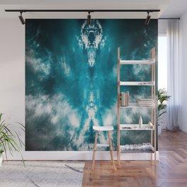 Dark Aqua Abstract Design Wall Mural