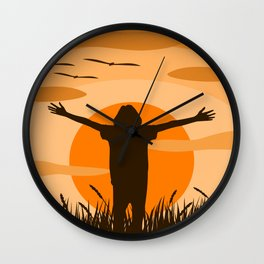 a woman who is standing extend the arms Wall Clock