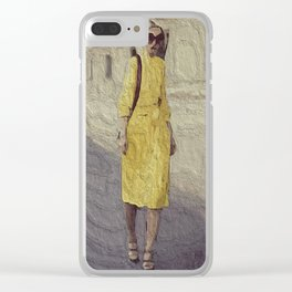 Mellow Yellow Pencil Dress Clear iPhone Case