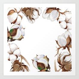 Cotton Flower Frame 01 Art Print