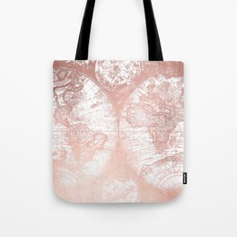 Rose Gold Pink Antique World Map by Nature Magick Tote Bag