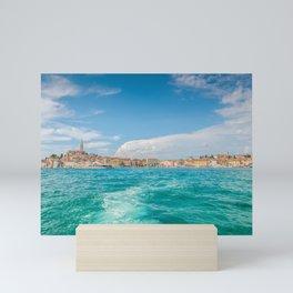 Boat trip Rovinj. View to the city. Mini Art Print