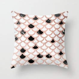 Girly rose gold black white marble mermaid scallop pattern Throw Pillow