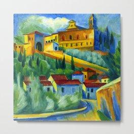 Charterhouse of Florence & Italian Village landscape painting by Hermann Max Pechstein Metal Print