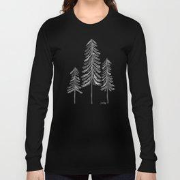 Pine Trees – Black Ink Long Sleeve T-shirt