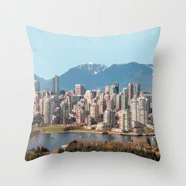 Vancouver Skyline, Canada Travel Artwork Throw Pillow